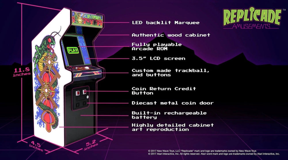 Replicade centipede mini arcade machine specifications