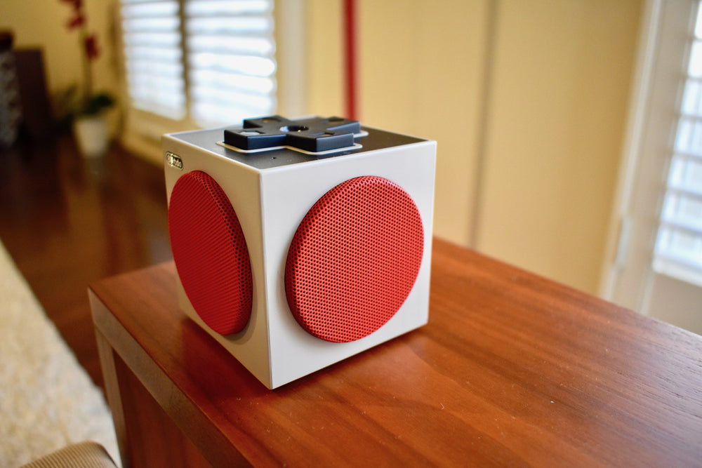Retro cube speaker living room shot
