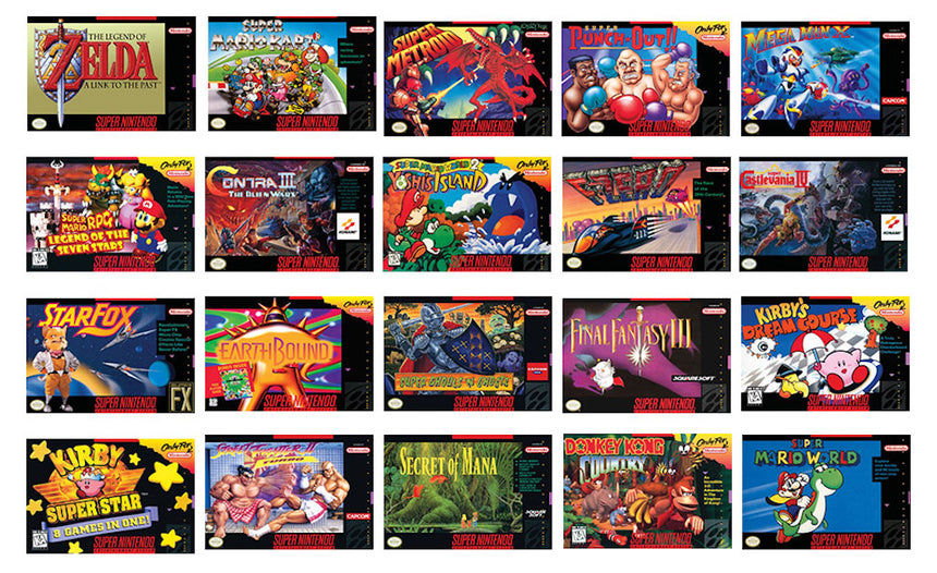 SNES Classic Mini Box Art of Included Games