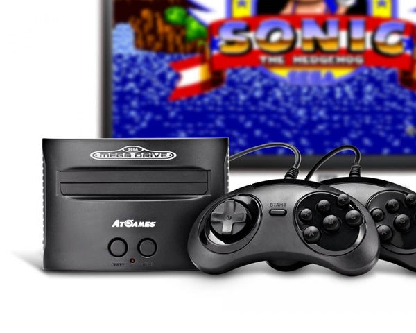 Sega Mega Drive Classic Console in front of TV with Sonic