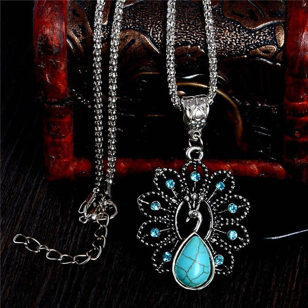 Exquisite Antique Turquoise Peacock Pendant Charm Necklace For Women