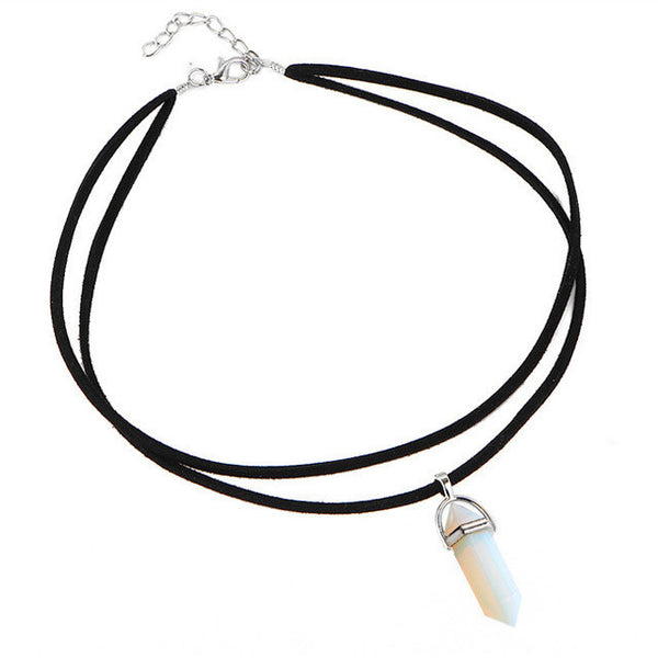 Black Leather Natural Stone Tattoo Choker