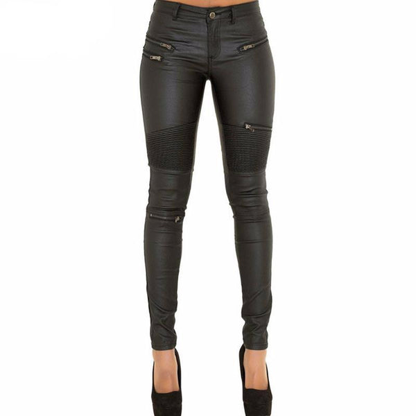 """She Bad"" Faux Leather low waist elastic Skinny Pencil Pants"