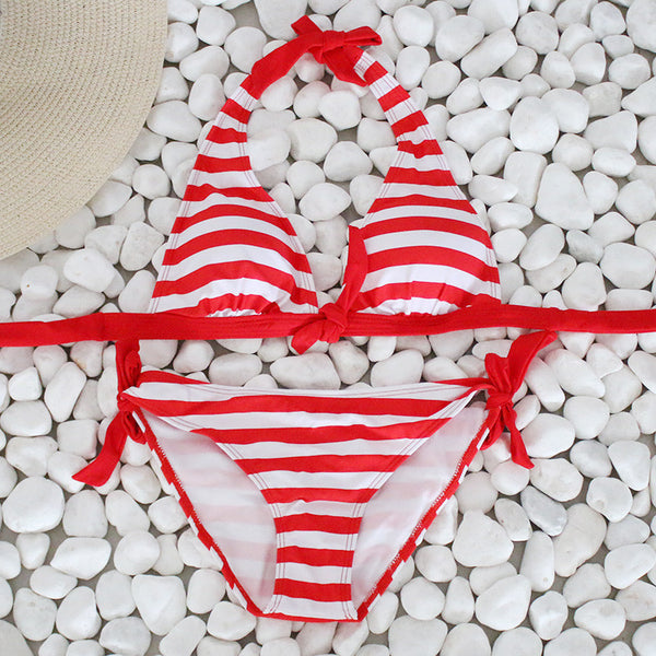Cute Striped Bikini Swimsuit
