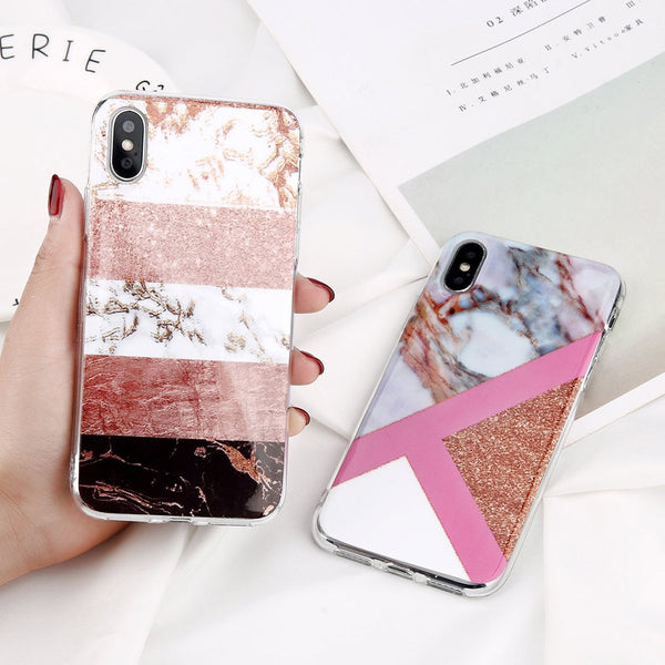 Fashion Marble and Glitter Phone Case for iPhone