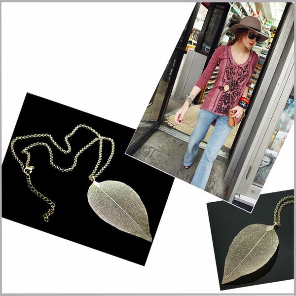 Gold Plated Vintage Natural Leaf Pendant Long Chain