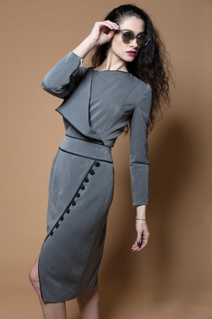 Faux-Wrap Button Dress