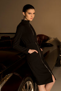 Black - Zip-Front Fitted Long Sleeve Dress