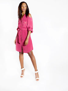 Cold-Shoulder Shirt Dress