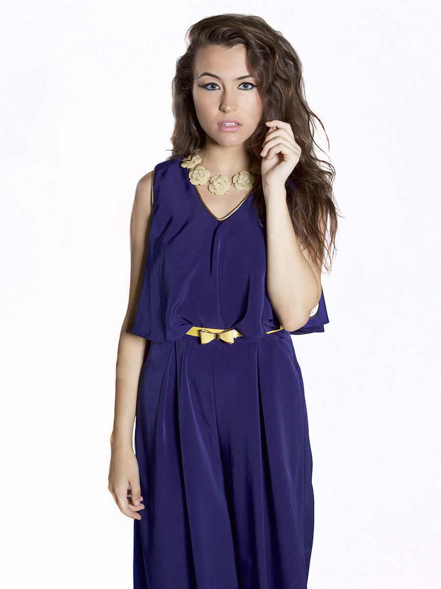 Ruffle Jumpsuit with Gold Piping
