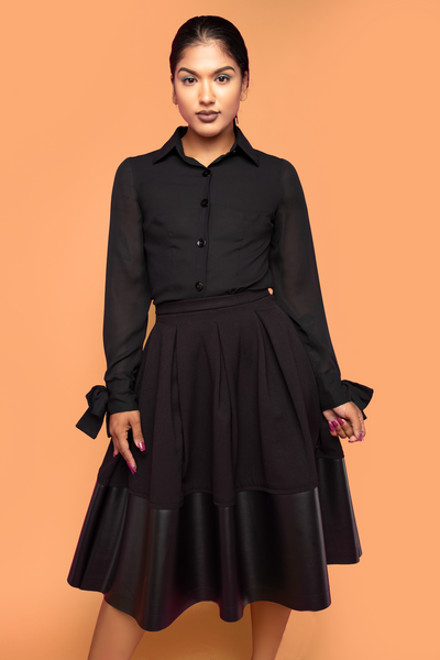 Black Dipped Pleated Skirt