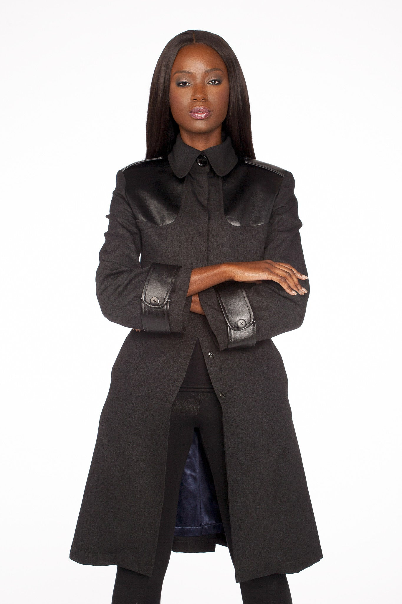Faux-Leather-Trim Coat