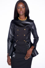 2-Tone, Peplum Eco Leather Dress