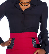 Faux-Leather Trimmed Pencil Skirt