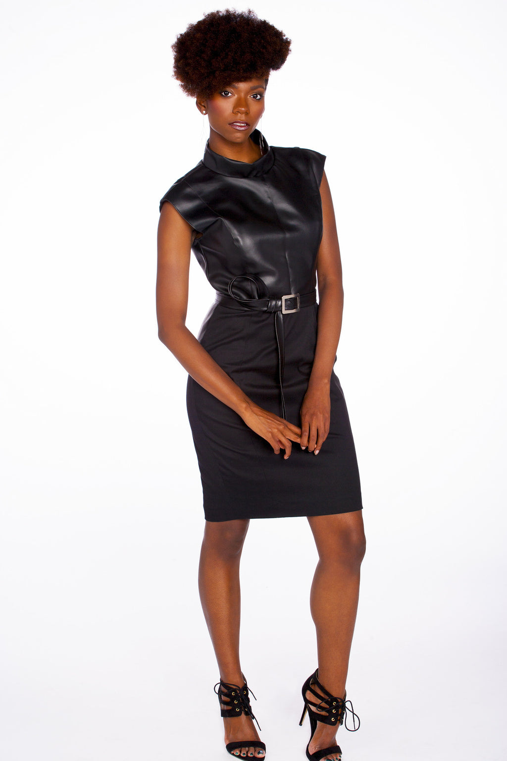 2-Tone, Eco-Leather Sheath Dress