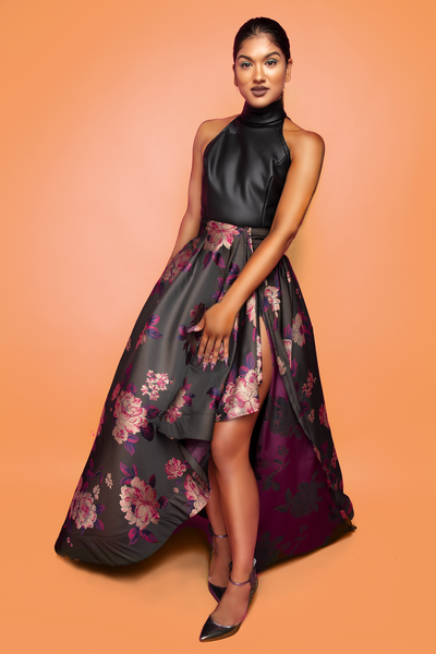 Two Piece Brocade & Leather Ensemble