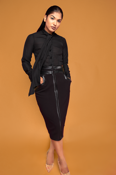 Black Leather Trimmed Pencil Skirt