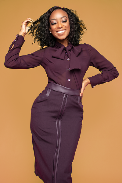 Plum Leather Trimmed Pencil Skirt