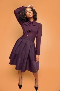Plum Dipped Pleated Skirt