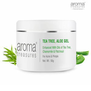 Aroma Treasures Tea Tree Aloe Gel to clear Acne & Pimple, making the skin clean, smooth & soft. (50g ) - Aroma Treasures.com