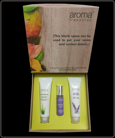 Aroma Treasures Gift Kit : (Aloe Vera gel , Evening Bliss Oil, & Lavender Face Wash). ( Pack Of 5 Box ) - Aroma Treasures.com