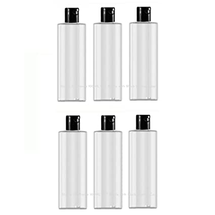 Transparent Flip Top Oil/Shampoo Bottles with black cap