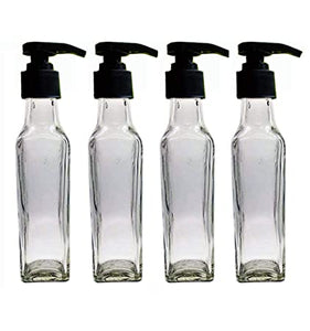 Transparent Glass Square Pump Lotion Bottle Black Cap,  Cosmetic Junction