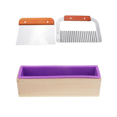 Combo of Silicone Soap Loaf Mould with Wooden Frame and Cutters,  Cosmetic Junction