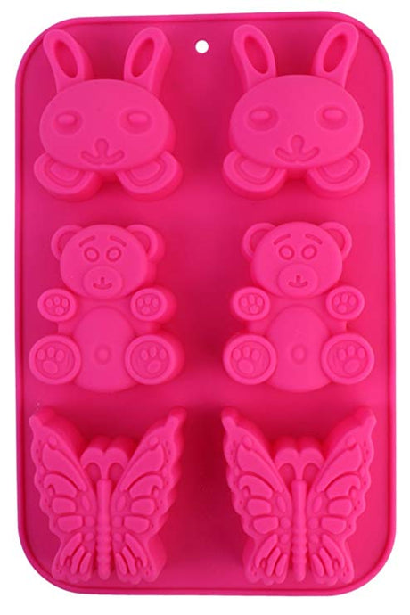 Teddy Bear, Butterfly & Bunny Silicone Soap Mould,  Cosmetic Junction