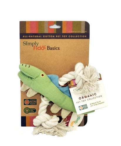 SimplyFido Natural Canvas Little Bodhi Crocodile Rope Toy