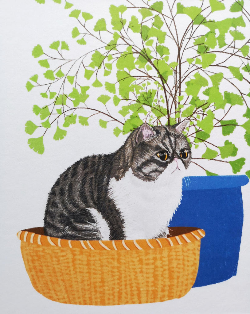 SteakandEggsPlease Cat & Maidenhair Fern Print