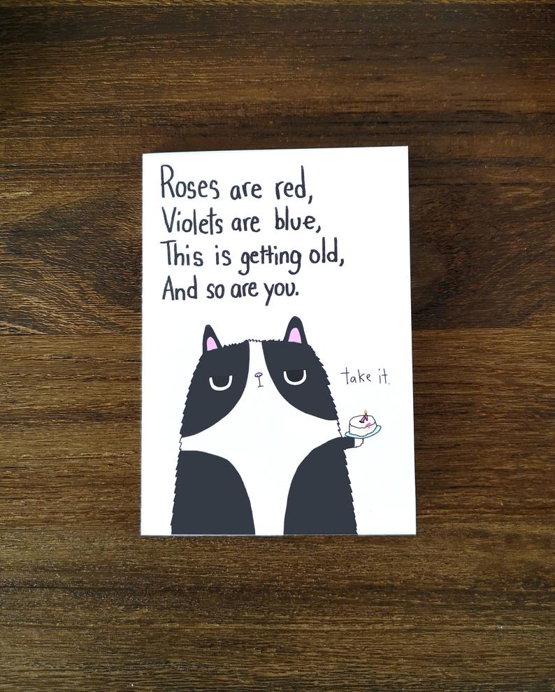 SteakandEggsPlease Roses Are Red Grumpy Cat Birthday Card