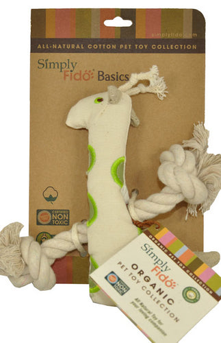 SimplyFido Natural Canvas Little Gable Giraffe Rope Toy