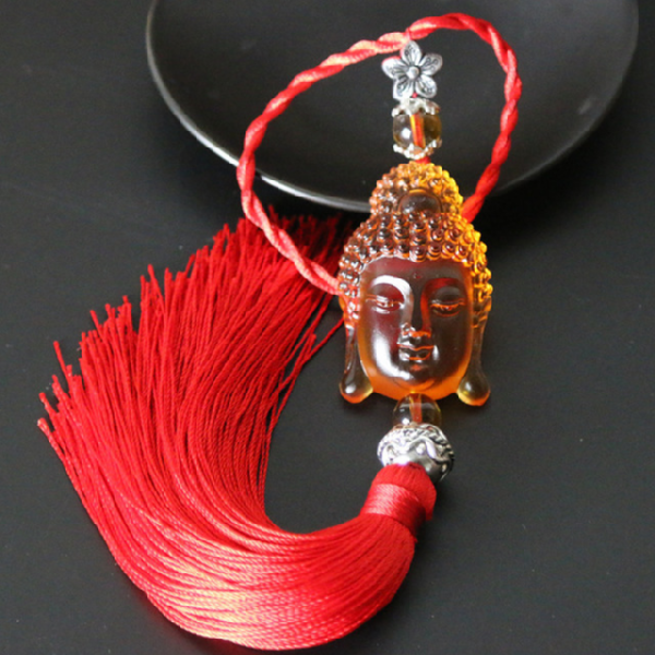 coloured glaze Buddha head Buddhist /Car Pendant bless peace - BuddhaFeeling