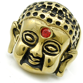 18k Gold Plated Crystal Ring, Buddha's Head, Religious Jewel - BuddhaFeeling