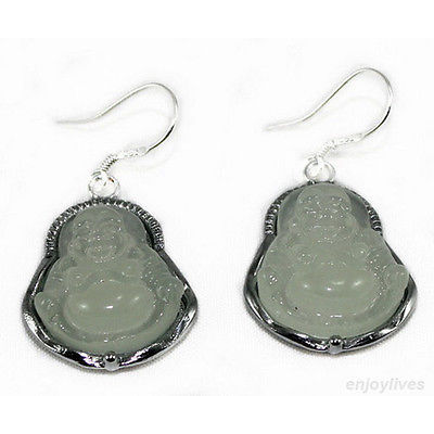 Natural Light Green Jade Laughing Buddha Earrings - BuddhaFeeling