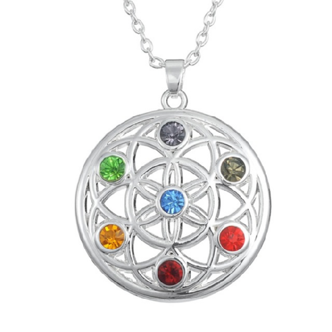 Flower of Life 7 CHAKRA Crystal Necklace Buddhist Jewelry - BuddhaFeeling