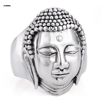 Pretty 100% solid silver ring, Buddha pattern, Women and Men - BuddhaFeeling