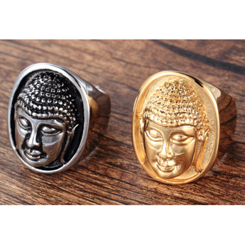 Bouddha head ring, stainless steel 2 colors silver and gold - BuddhaFeeling