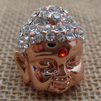 Superb woman ring, pink gold plated with clear crystals - BuddhaFeeling