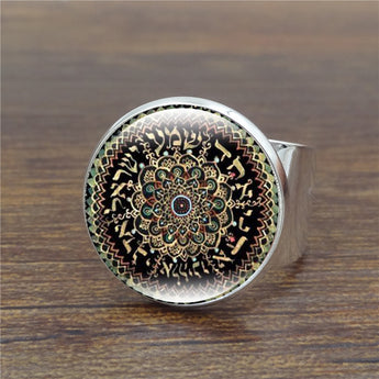 "Ring Bronze ""Mandala Flower Art Glass Dome"" India Yoga OM Symbol"