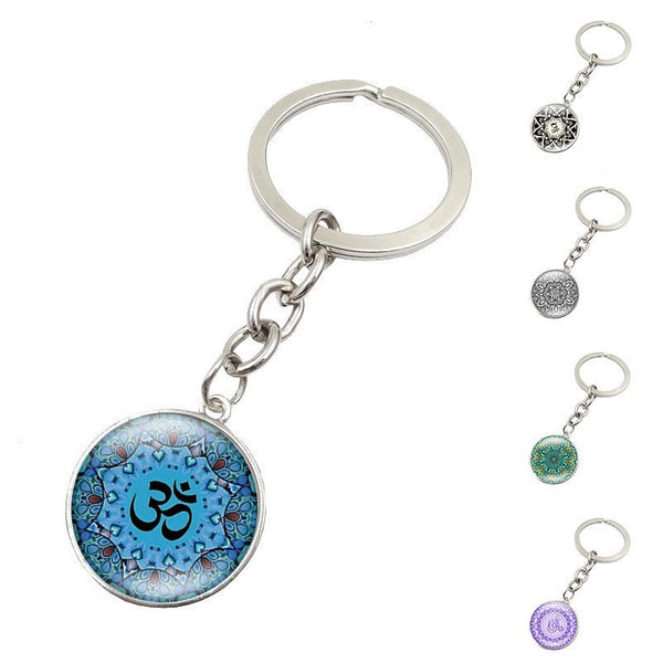 - Key Ring Mandala Jewelry Silver plated Handmade