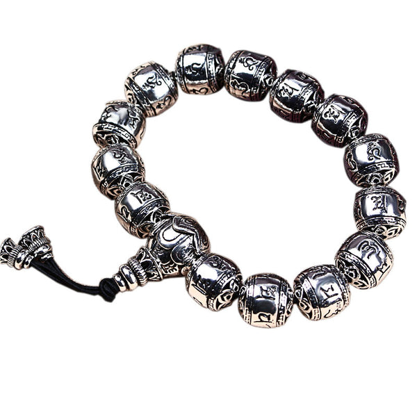 - Bracelet 925 silver  six words Sutra hand Bead Silver