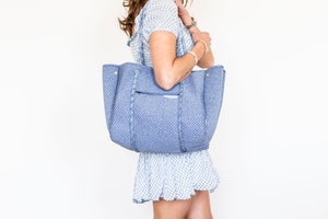 neoprene tote blue marle leader carryall