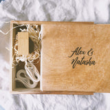 "USB/5x7"" PRINT BOX - RUSTIC - Natural Wooden Box Co."