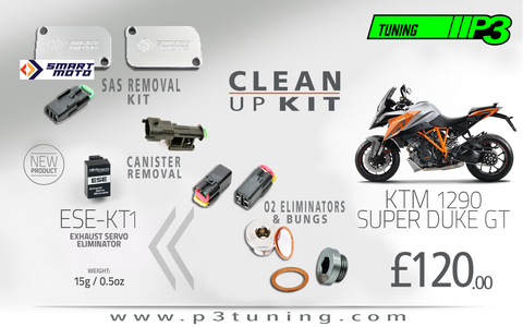 KTM 1290 SUPER DUKE GT Complete Clean Up Kit EXCV, Canister, O2 and SAS Block Off plates