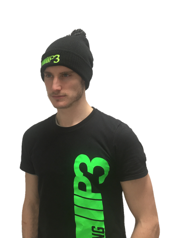 P3 Black Beanie with bobble