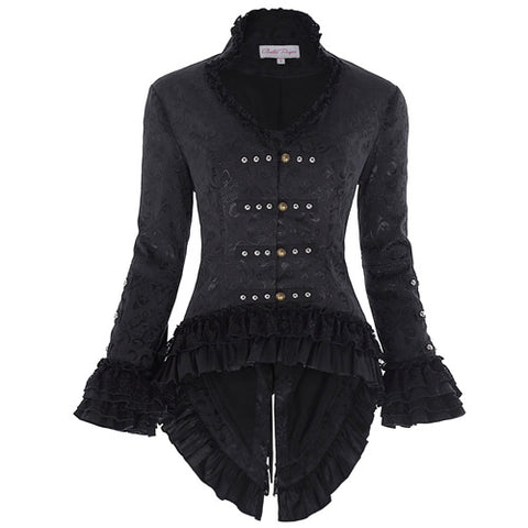 Lace Up  Vintage Victorian Corset V-Neck Jacquard Coat