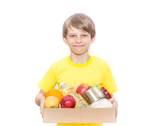 Child with food box