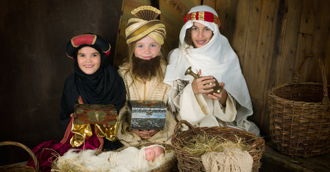 Three Wise Men In Stable Nativity Play